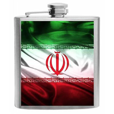 Iran Flag Stainless Steel Hip Flask 6oz