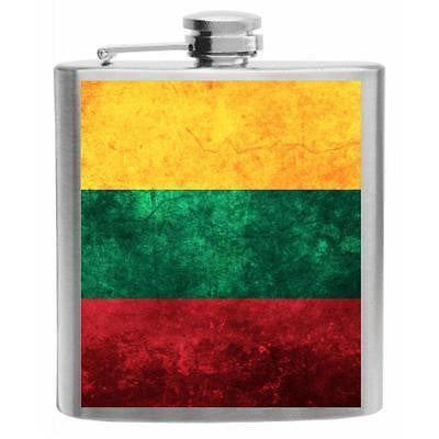 Lithuania Flag Stainless Steel Hip Flask 6oz