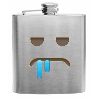 Emoji Face Drooling Stainless Steel Hip Flask 6oz