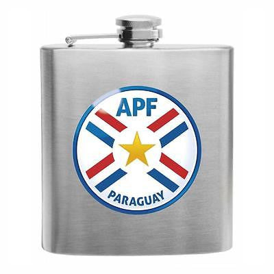 Paraguay Football Stainless Steel Hip Flask 6oz