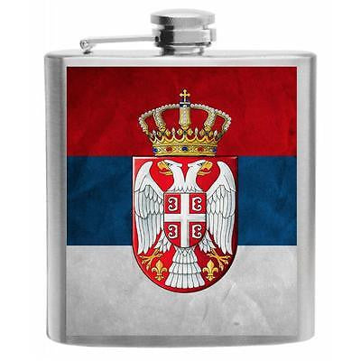 Serbia Flag Stainless Steel Hip Flask 6oz