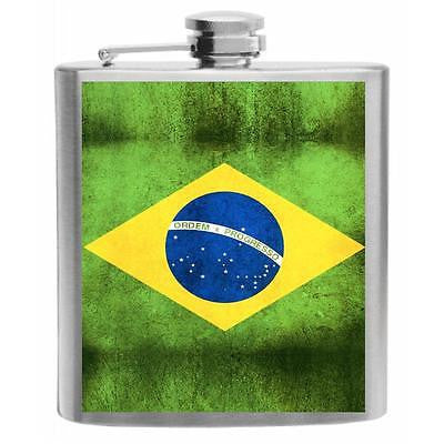 Brazil Flag Stainless Steel Hip Flask 6oz