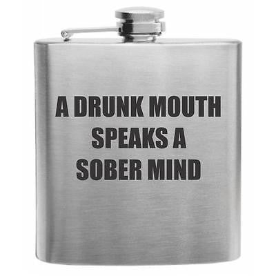 Drunk Mouth Sober Thoughts Stainless Steel Hip Flask 6oz