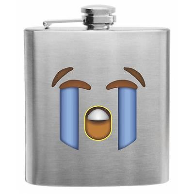 Emoji Loudly Crying Face Stainless Steel Hip Flask 6oz