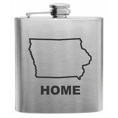Iowa Home State Stainless Steel Hip Flask 6oz