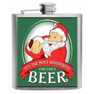 Wonderful Time for a Beer Stainless Steel Hip Flask 6oz