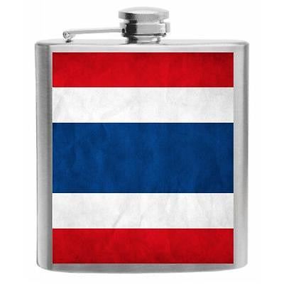 Thailand Flag Stainless Steel Hip Flask 6oz