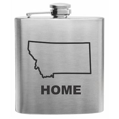 Montana Home State Stainless Steel Hip Flask 6oz