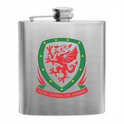 Wales Football Stainless Steel Hip Flask 6oz