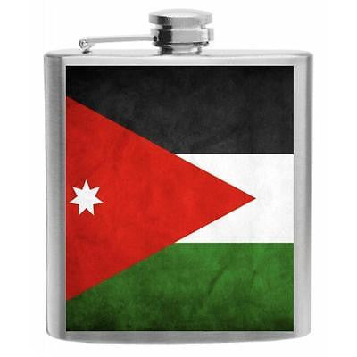 Jordan Flag Stainless Steel Hip Flask 6oz