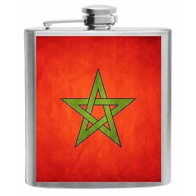 Morocco Flag Stainless Steel Hip Flask 6oz