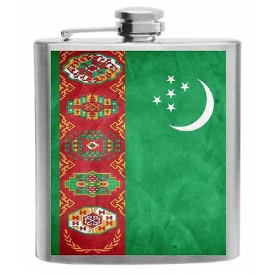 Turkmenistan Flag Stainless Steel Hip Flask 6oz