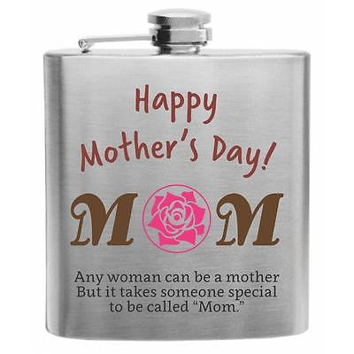 "Quote ""MOM"" Stainless Steel Hip Flask 6oz"