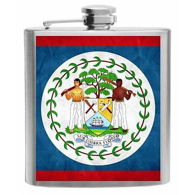 Belize Flag Stainless Steel Hip Flask 6oz