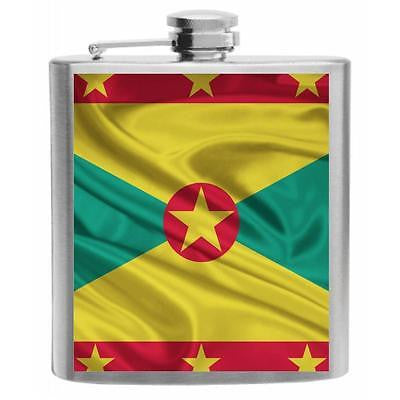 Grenada Flag Stainless Steel Hip Flask 6oz
