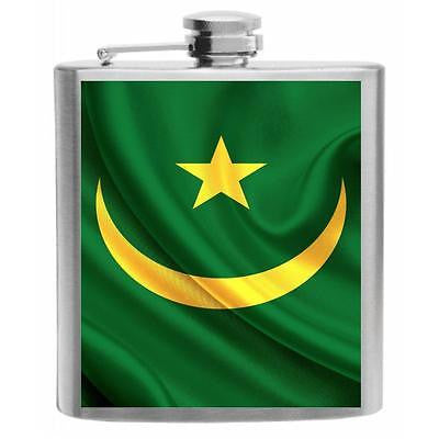 Mauritania Flag Stainless Steel Hip Flask 6oz