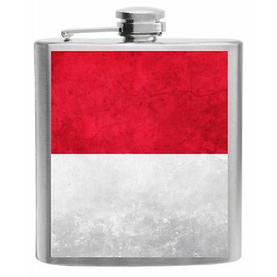Monaco Flag Stainless Steel Hip Flask 6oz