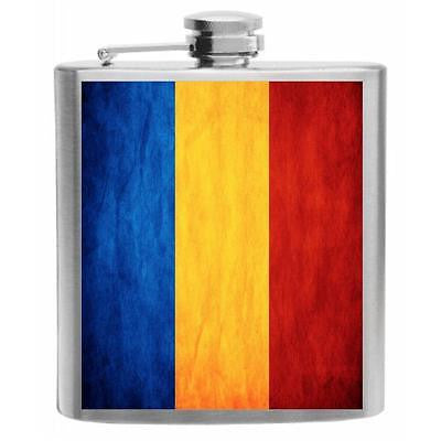 Romania Flag Stainless Steel Hip Flask 6oz
