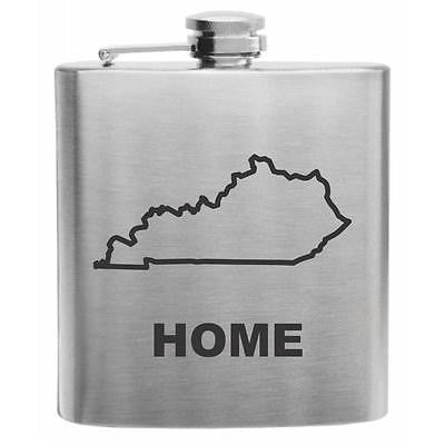 Kentucky Home State Stainless Steel Hip Flask 6oz