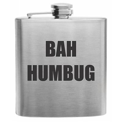 BAH HUMBUG Stainless Steel Hip Flask 6oz