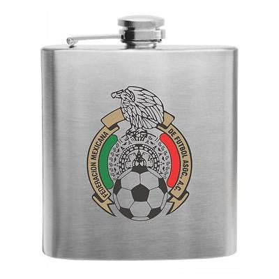 Mexico Football Stainless Steel Hip Flask 6oz