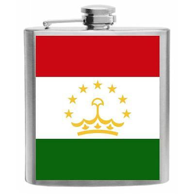 Tajikstan Flag Stainless Steel Hip Flask 6oz