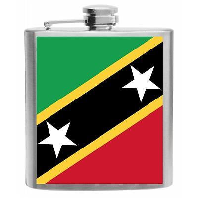 Saint Kitts and Nevis Flag Stainless Steel Hip Flask 6oz