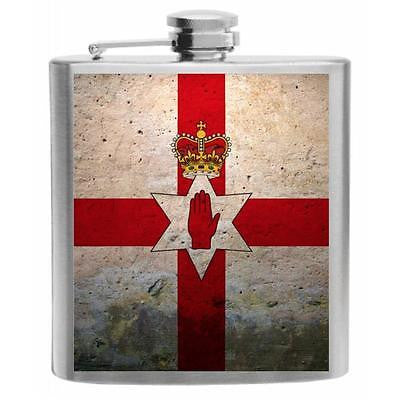 Northern Ireland Flag Stainless Steel Hip Flask 6oz