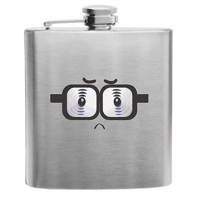 Emoji Upset Nerd Face Stainless Steel Hip Flask 6oz