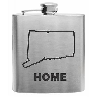 Connecticut Home State Stainless Steel Hip Flask 6oz