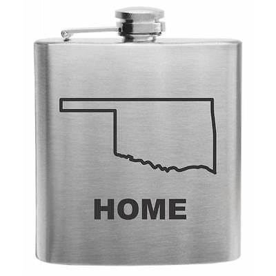 Oklahoma Home State Stainless Steel Hip Flask 6oz