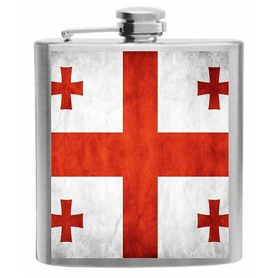 Georgia Flag Stainless Steel Hip Flask 6oz