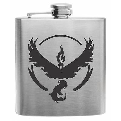NEW Pokemon Go Team Valor Stainless Steel Hip Flask 6oz