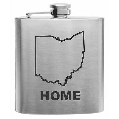 Ohio Home State Stainless Steel Hip Flask 6oz