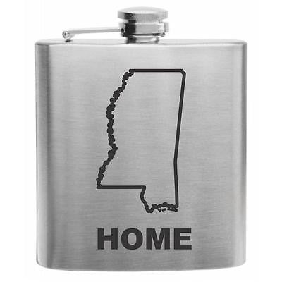 Mississippi Home State Stainless Steel Hip Flask 6oz