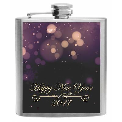 Happy New Year 2017 Sparkling Purple Stainless Steel Hip Flask 6oz