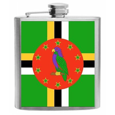 Dominica Flag Stainless Steel Hip Flask 6oz