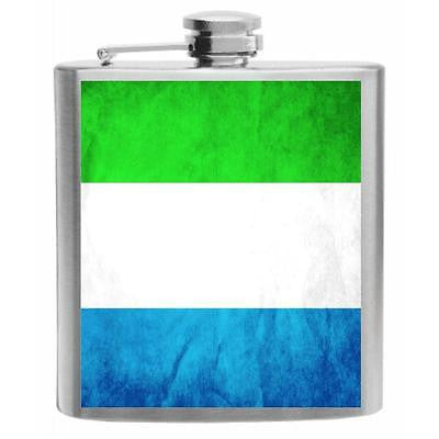 Sierra Leone Flag Stainless Steel Hip Flask 6oz