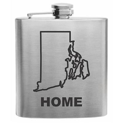 Rhode Island Home State Stainless Steel Hip Flask 6oz