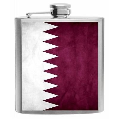Qatar Flag Stainless Steel Hip Flask 6oz