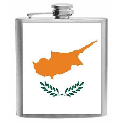 Cyprus Flag Stainless Steel Hip Flask 6oz