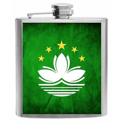 Macau Flag Stainless Steel Hip Flask 6oz