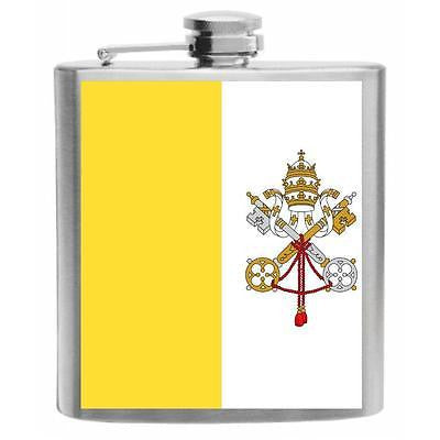 Vatican City Flag Stainless Steel Hip Flask 6oz