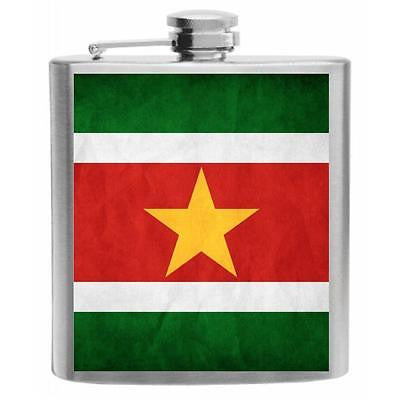 Suriname Flag Stainless Steel Hip Flask 6oz