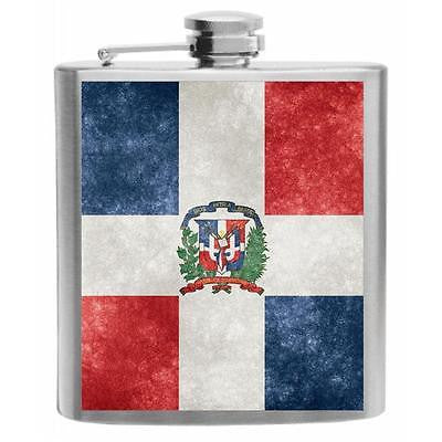 Dominican Republic Flag Stainless Steel Hip Flask 6oz