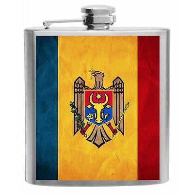 Moldova Flag Stainless Steel Hip Flask 6oz