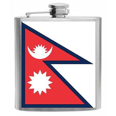 Nepal Flag Stainless Steel Hip Flask 6oz