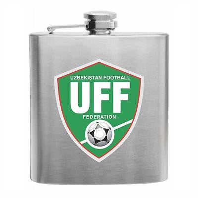 Uzbekistan Football Stainless Steel Hip Flask 6oz