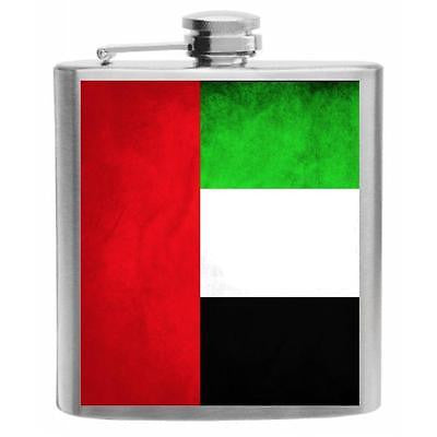 United Arab Emirates Flag Stainless Steel Hip Flask 6oz
