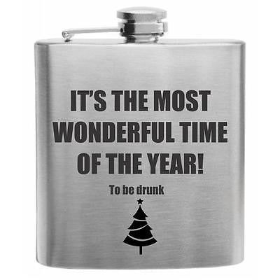 Most Wonderful Time of the Year Stainless Steel Hip Flask 6oz